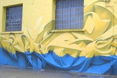 Объемные изображения на стенах магазина